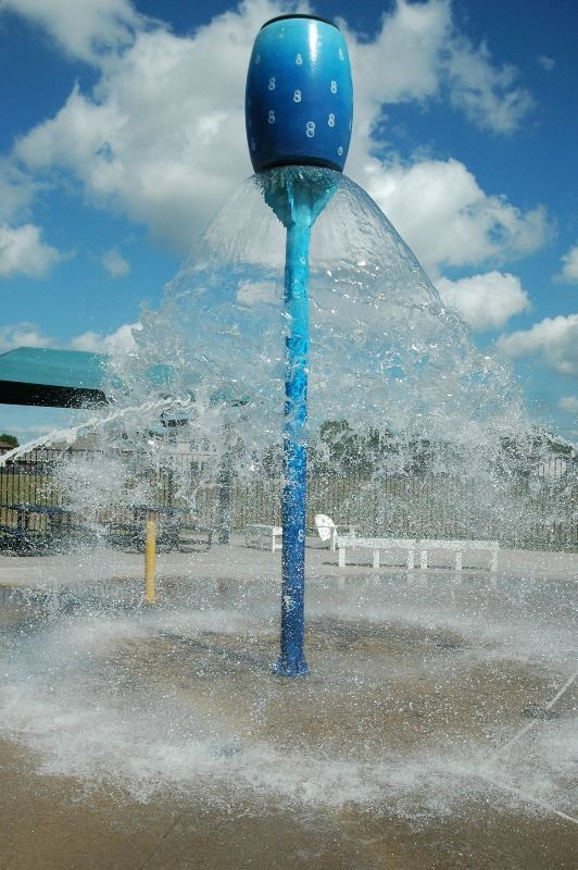 Fountain feature at Lone Tree Creek Splashpad