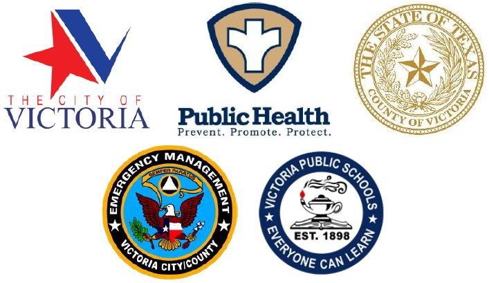 Logos for City of Victoria, Victoria County, OEM, Public Health Department, VISD