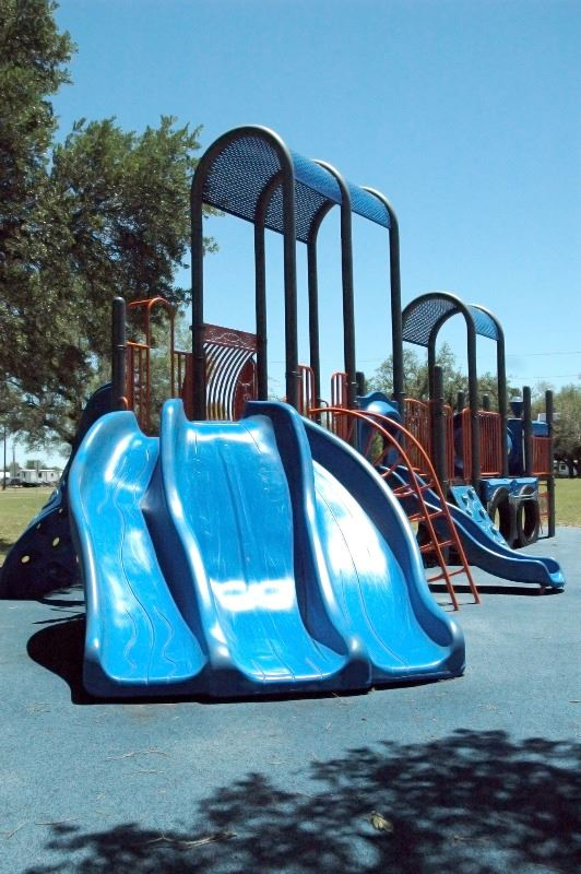 3 blue slides at Hopkins Park