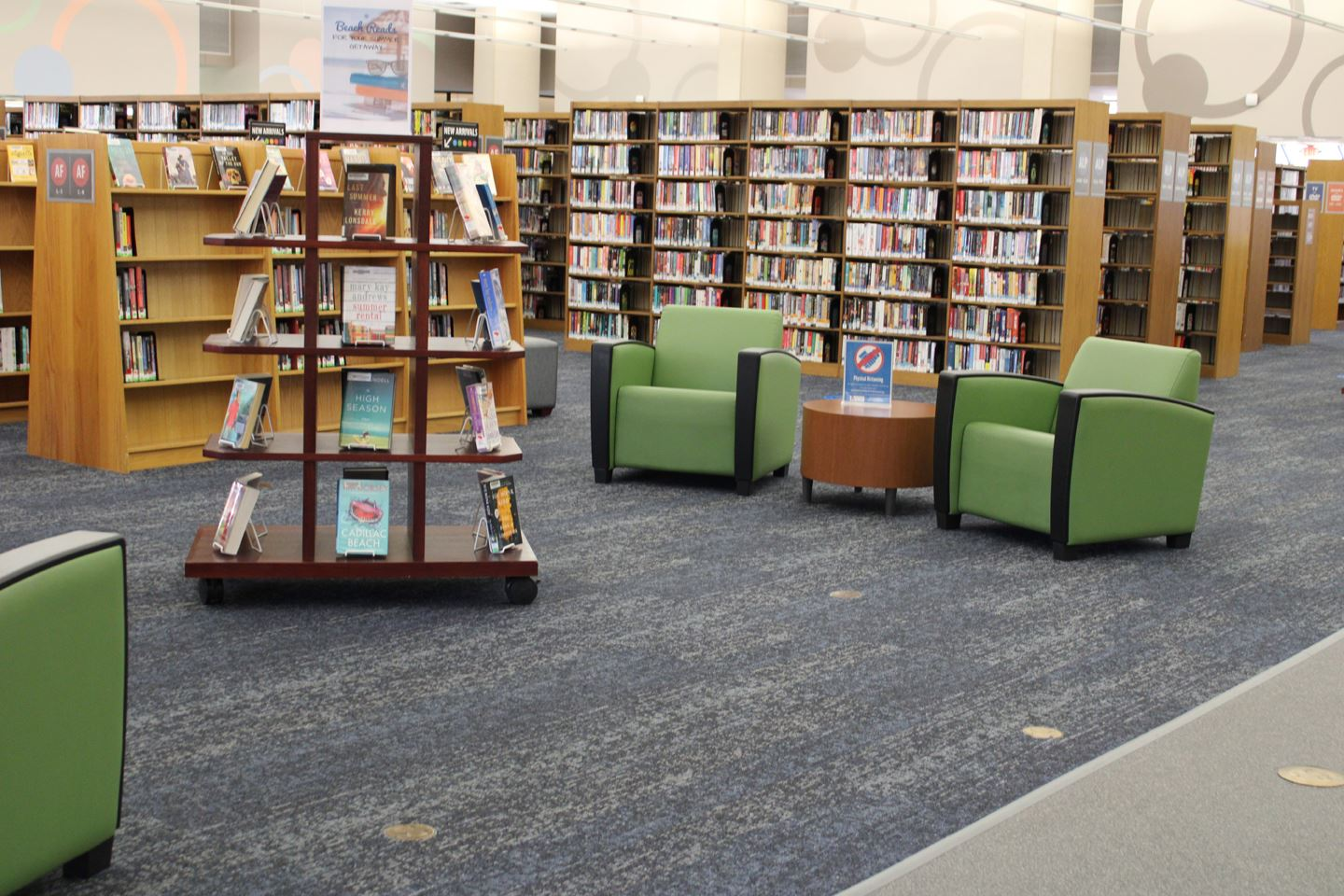 Victoria Public Library interior with new carpet