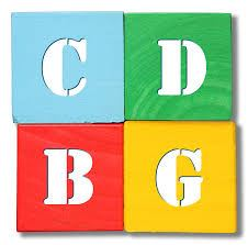 CDBG (Community Development Block Grant) blue, green, red, and yellow building blocks logo